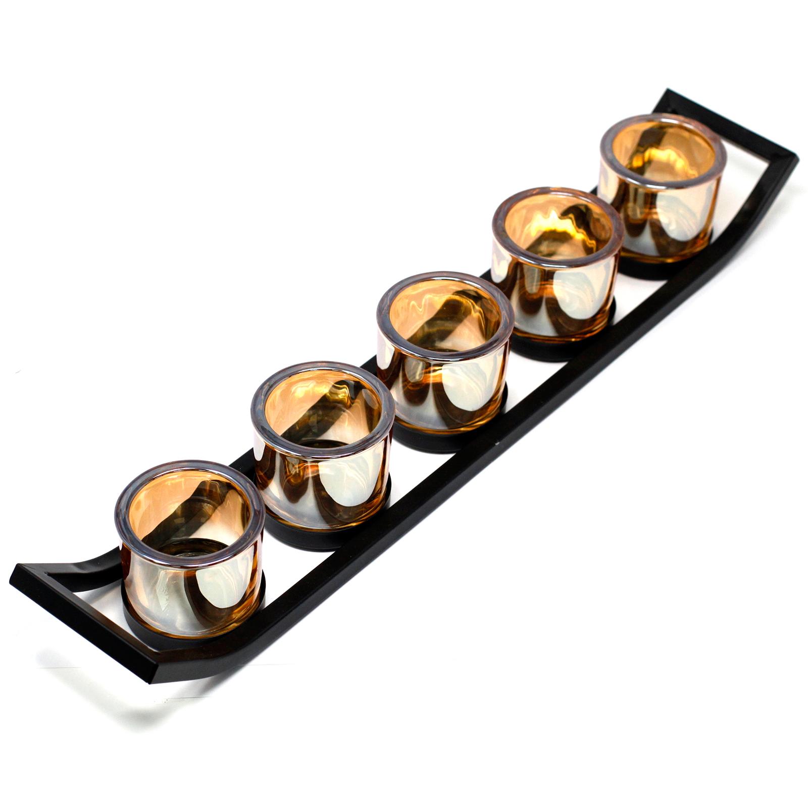 Kovový Votivní Svícen - na 5 Svíček - Lišta