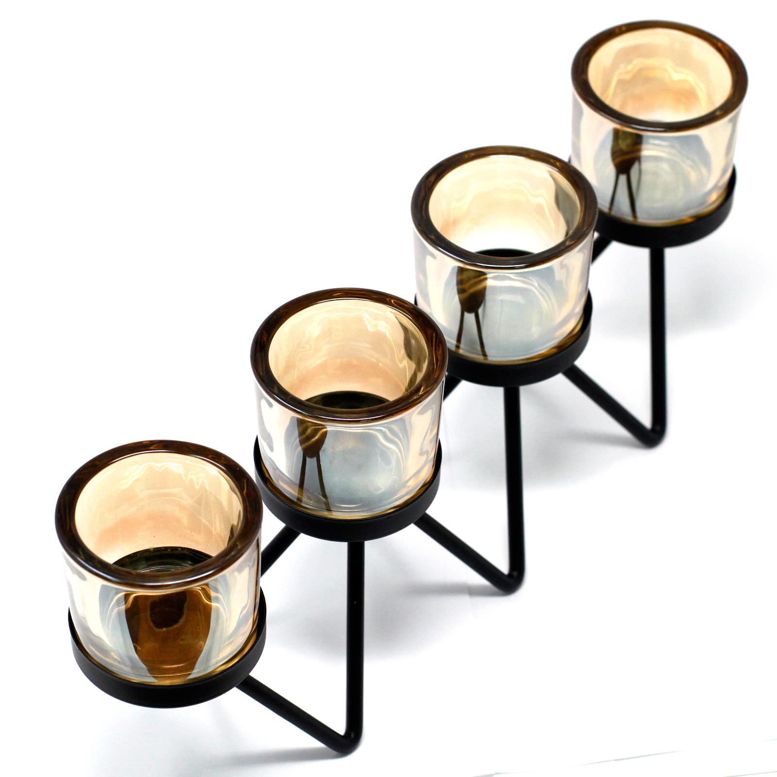 Kovový Votivní Svícen - na 4 Svíčky - Zig Zag