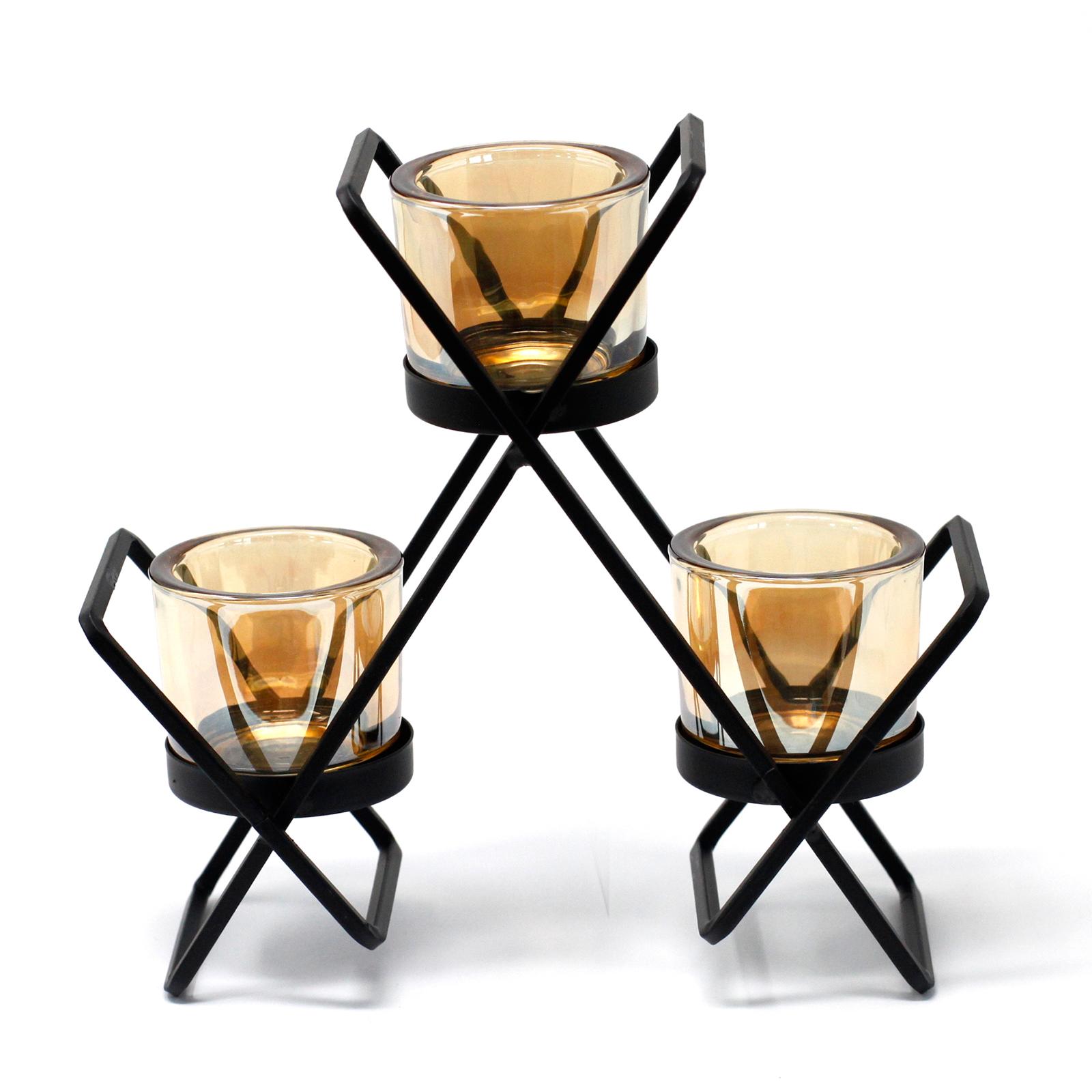 Kovový Votivní Svícen - na 3 Svíčky - Trojúhelník