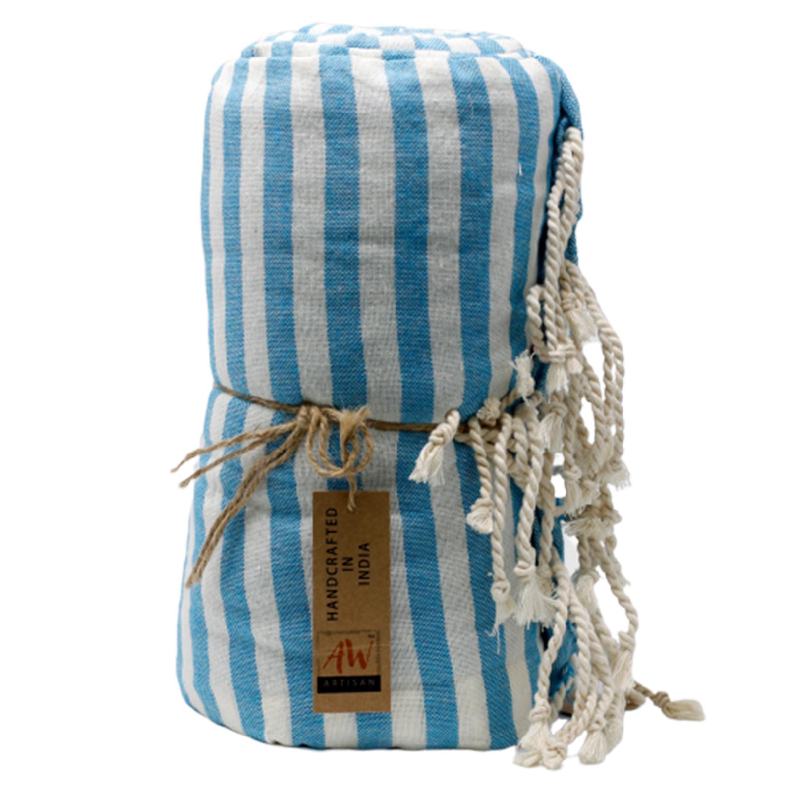 Bavlněný Plážový Ručník - 100x180cm - Modrý