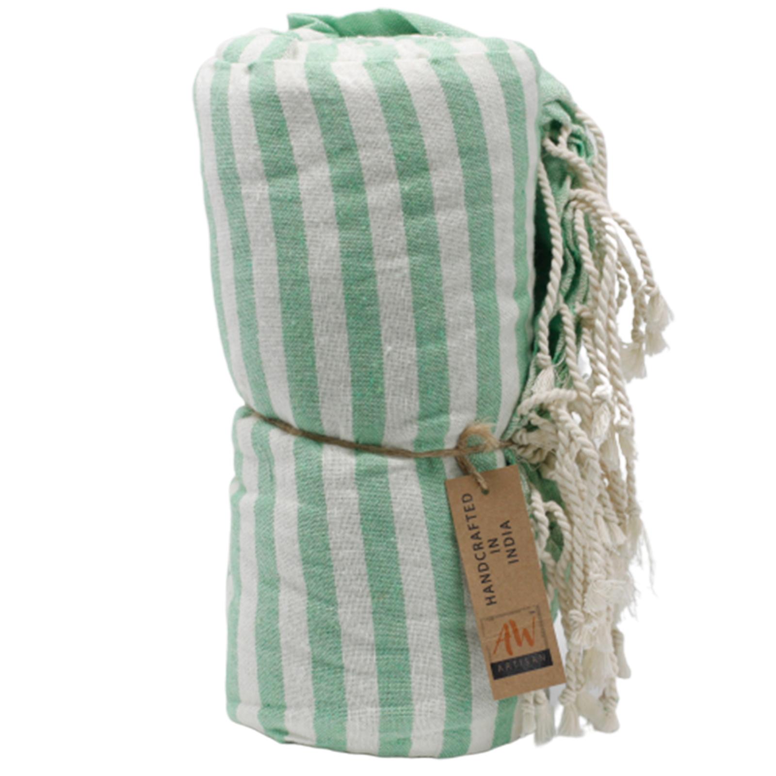 Bavlněný Plážový Ručník - 100x180cm - Zelený