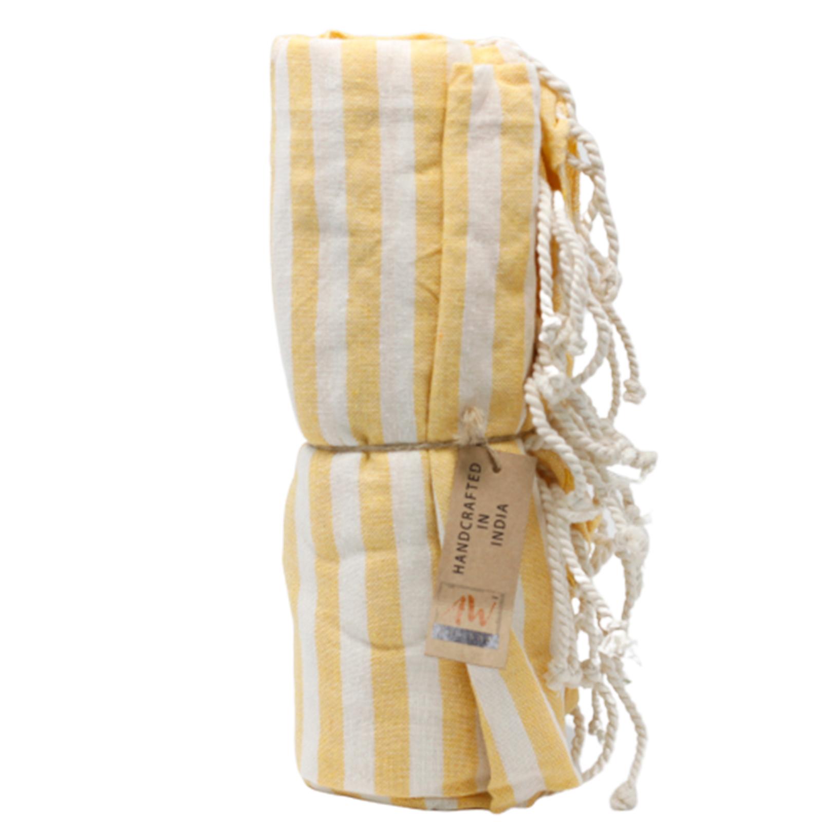 Bavlněný Plážový Přehoz - 100x180cm - Žlutý